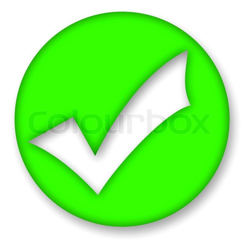 Green Check Mark Symbol Over White Background Stock Photo Colourbox