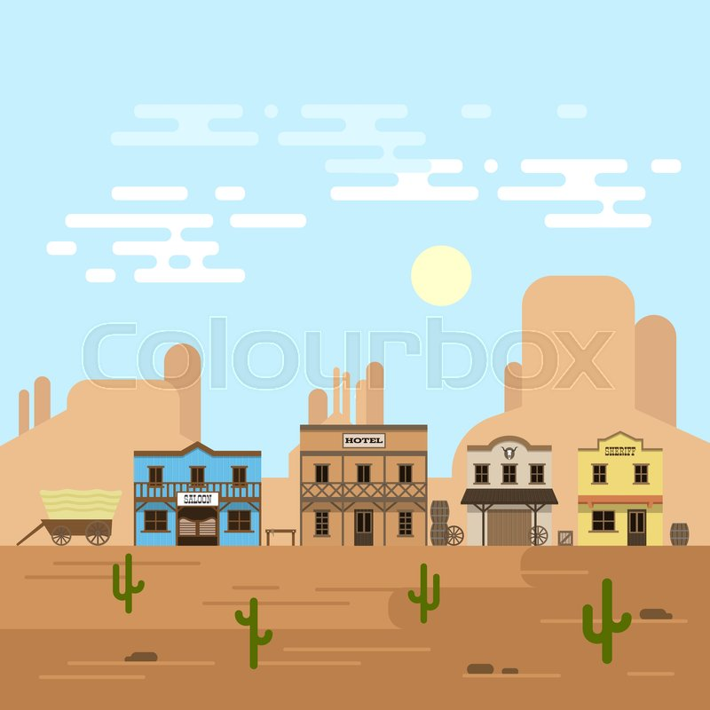 Town Landscape Vector Illustration: Vector Illustration Of An Old Western ...