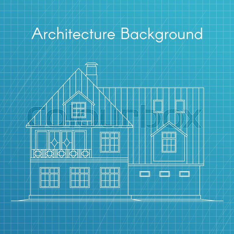 Vector illustration of family house or cottage architecture stock vector of vector illustration of family house or cottage architecture blueprint background malvernweather Images