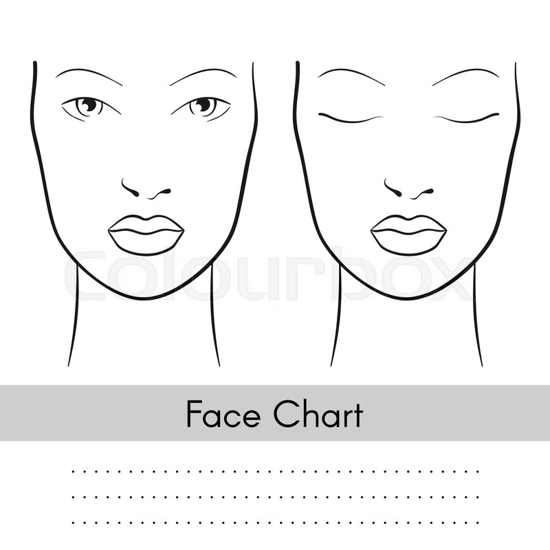Vector beautiful woman face chart portrait. Female face with open ...