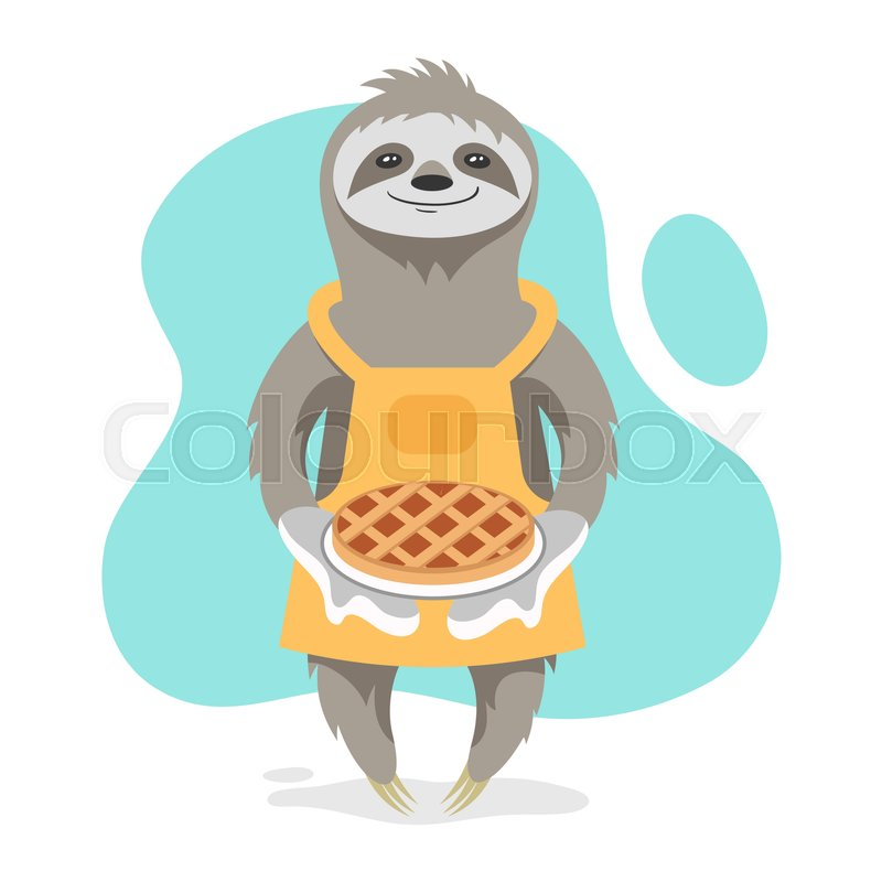 Vector Illustration Of Happy Cute Sloth Wearing Kitchen Apron And Holding Tasty Pie In His Hands Print For T Shirt Or Poster Design