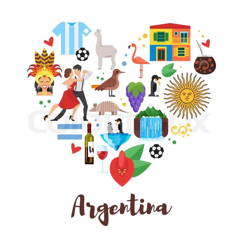 Vector flat style heart shape composition of argentina for Artistic argentinean cuisine