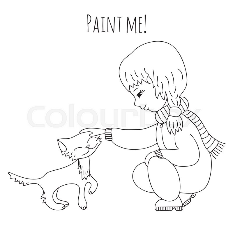 Cute girl stroking a kitten. Coloring book for adults and children ...