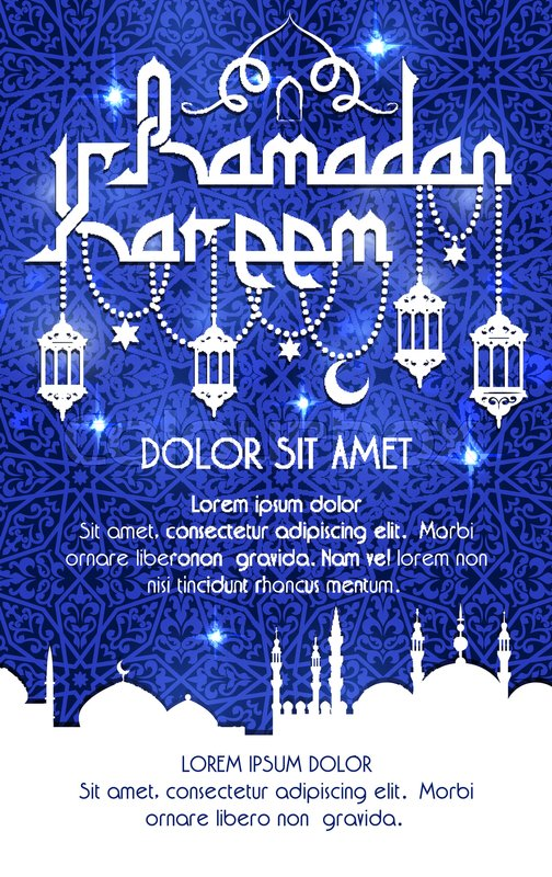 Ramadan kareem holy fasting holiday greeting poster or card vector ramadan kareem holy fasting holiday greeting poster or card vector arabic calligraphy text and lantern lights over blue mosque minarets for muslim islamic m4hsunfo