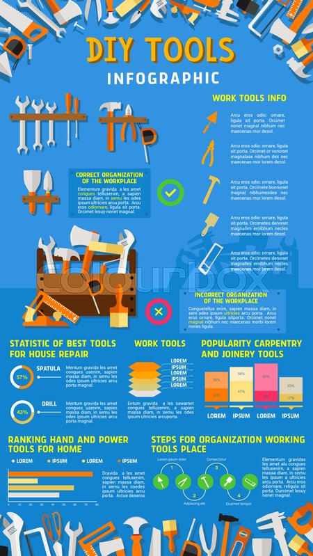 Do it yourself diy work tools infographics vector design of home do it yourself diy work tools infographics vector design of home repair and carpentry instruments statistics diagrams and chart elements on tools percent solutioingenieria Gallery