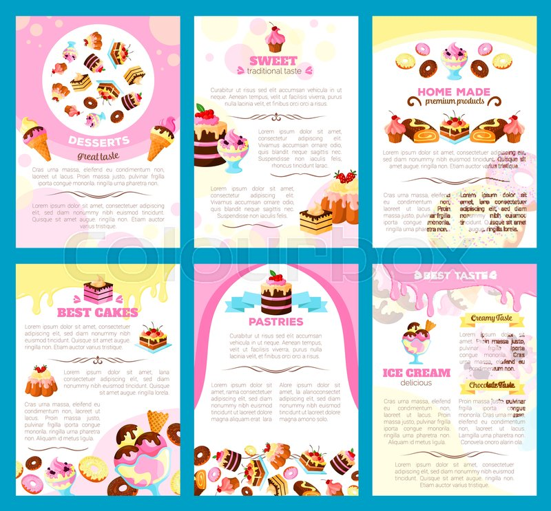 Desserts And Bakery Shop Brochure Or Poster Of Vector Sweet Cakes - Bakery brochure template