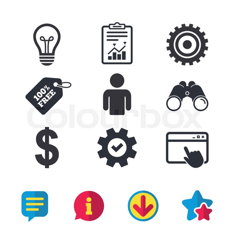 Business Icons Human Silhouette And Lamp Bulb Idea Signs Dollar