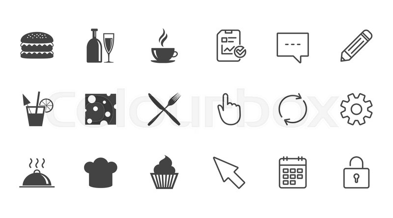Food, drink icons. Coffee and hamburger signs. Cocktail, cheese and cupcake symbols. Chat, Report and Calendar line signs. Service, Pencil and Locker icons. Click, Rotation and Cursor. Vector, vector