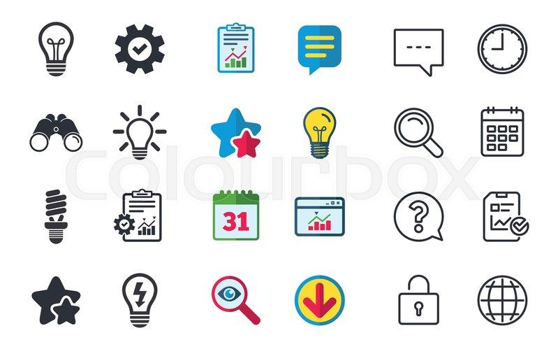 Light Lamp Icons Fluorescent Lamp Bulb Symbols Energy Saving Idea