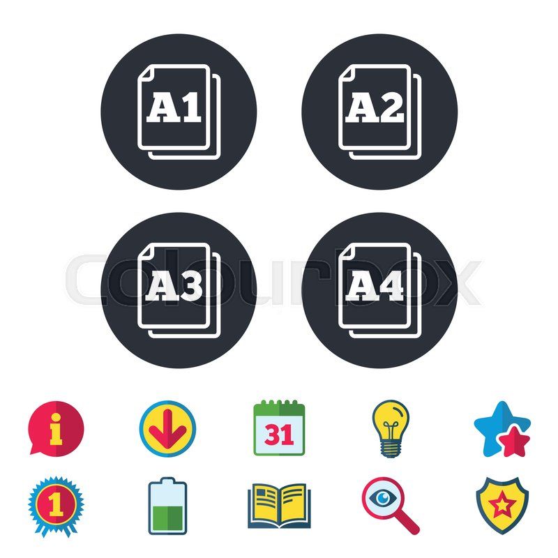 Paper size standard icons. Document symbols. A1, A2, A3 and A4 page ...