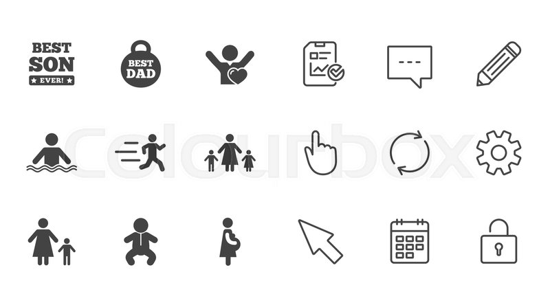 People, family icons. Swimming, baby and pregnant woman signs. Best dad, runner and fan symbols. Chat, Report and Calendar line signs. Service, Pencil and Locker icons. Click, Rotation and Cursor, vector