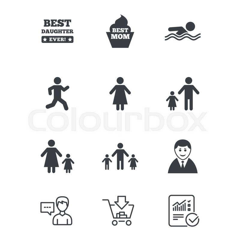People Family Icons Swimming Pool Person Signs Best Mom Father
