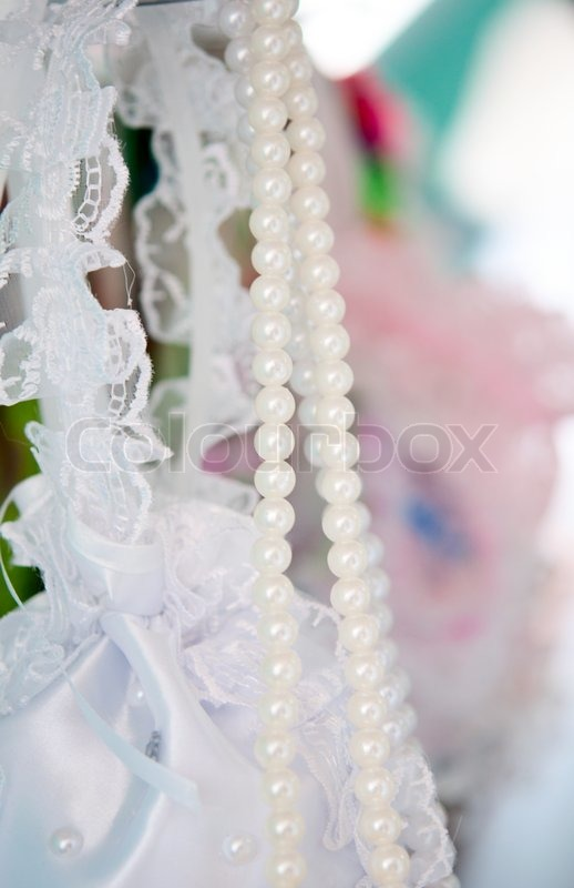 Wedding decorations with pearls stock photo