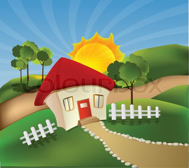 Cartoon landscape with little house, and face on sunny day ...