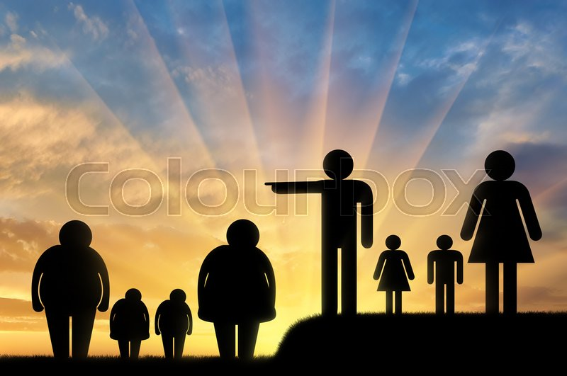 Obesity is a problem concept. A fat family and a normal family drives them away, stock photo