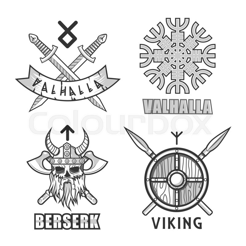 Valhalla Symbol Of Ancient Viking Warrior In Helmet With Horns And
