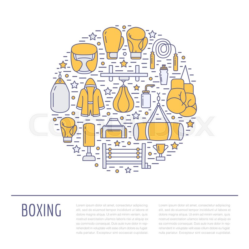 Boxing poster template. Vector sport training colored line icons ...
