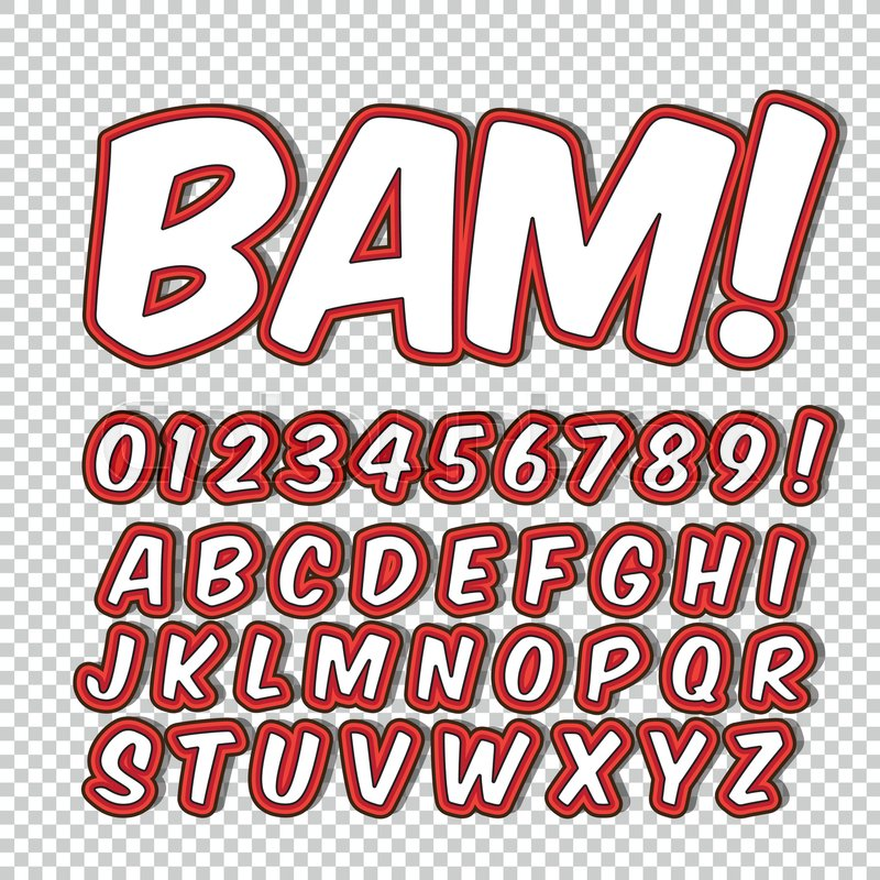Creative High Detail Comic Font Alphabet Of Comics Pop Art Letters And Figures For Decoration Kids Illustrations Websites Posters