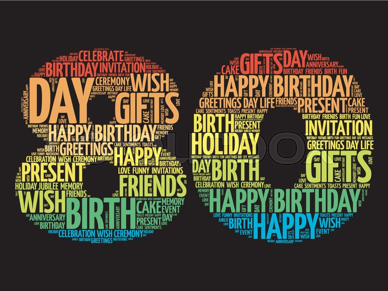 Happy 80th birthday word cloud collage concept | Stock Vector ...