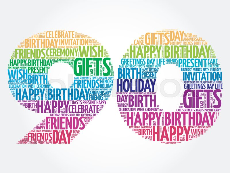 Happy 90th Birthday Word Cloud Collage