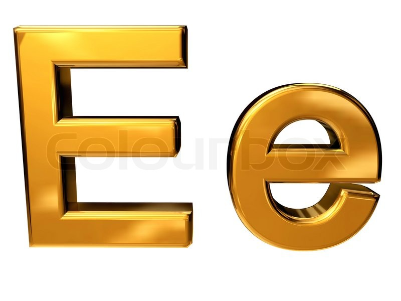 Gold letter E upper case and lower case isolated on white ...