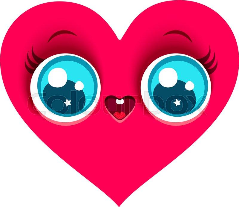 Vector cartoon of a cute heart in kawaii style.   Stock Vector ...