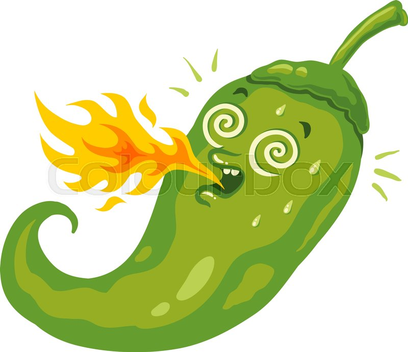 vector illustration of a spicy chili pepper with flame cartoon rh colourbox com funny cartoon jalapeno jalapeno cartoon pics