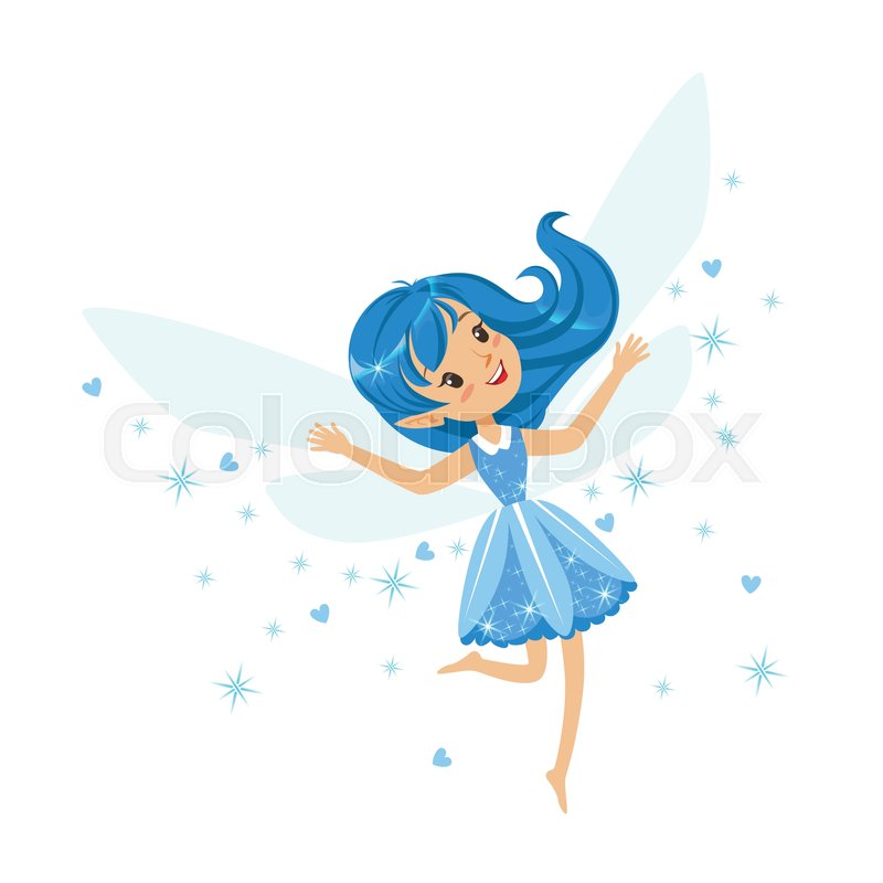 Beautiful smiling blue Fairy girl flying colorful cartoon ...