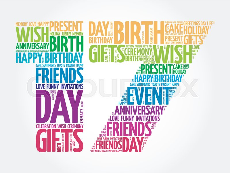 Happy 17th birthday word cloud collage concept   Stock Vector