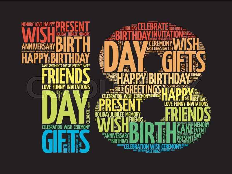 Happy 18th birthday word cloud collage concept | Stock Vector ...