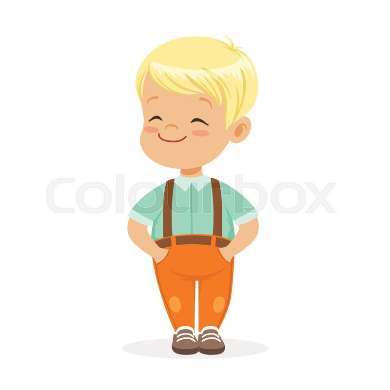 Sweet Smilng Little Blonde Boy Stock Vector Colourbox