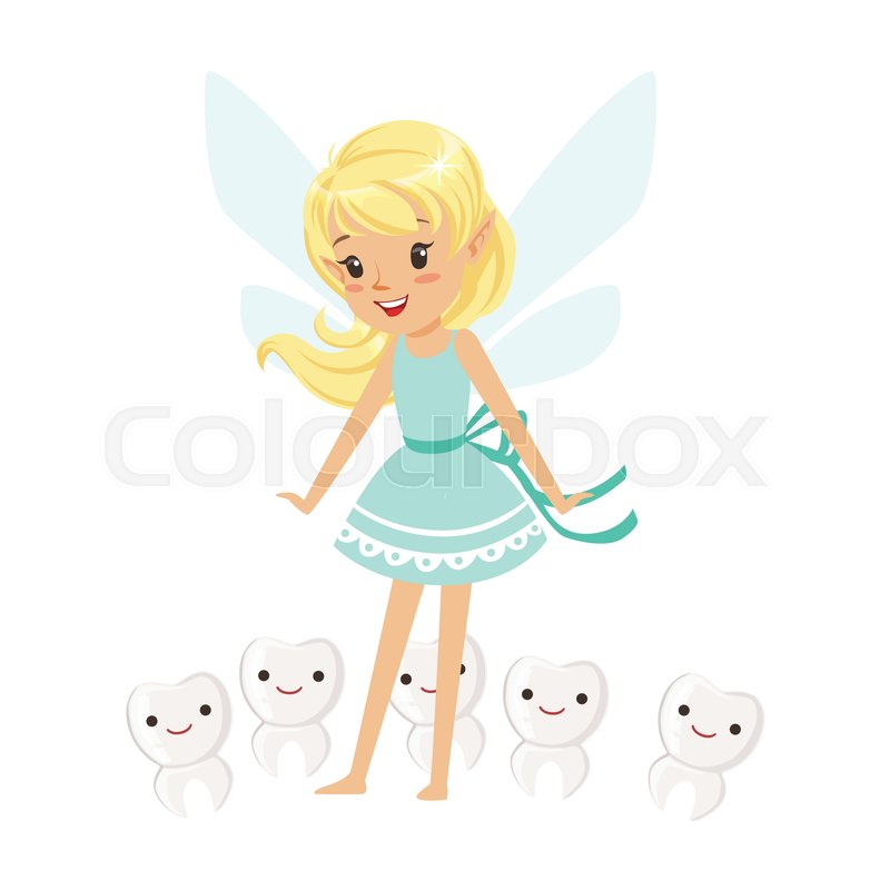 1 Toothed Cartoon Characters : Beautiful sweet blonde tooth fairy girl standing