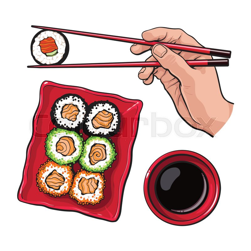 eating sushi human hand with chopsticks and soy sauce. Black Bedroom Furniture Sets. Home Design Ideas