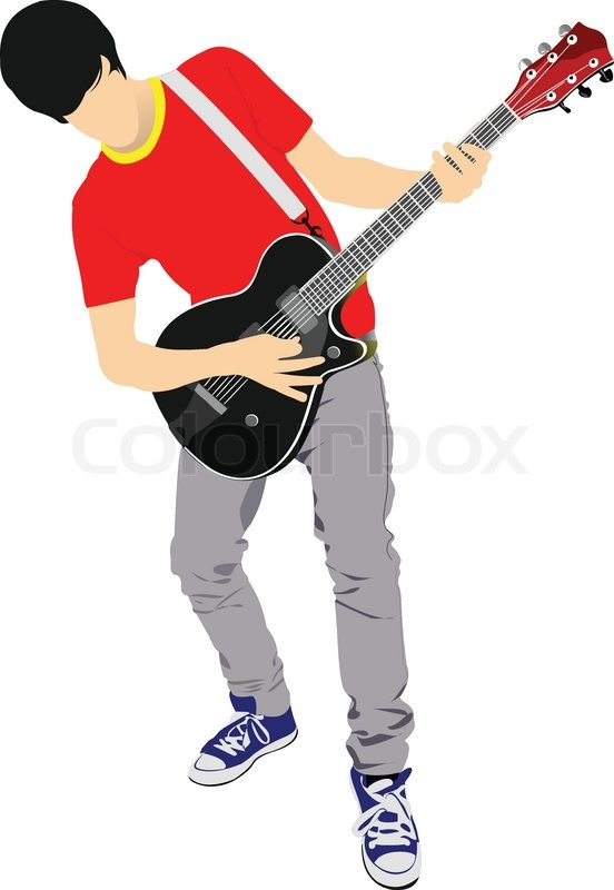 Guitar Player Isolated On The White Background Vector Illustration