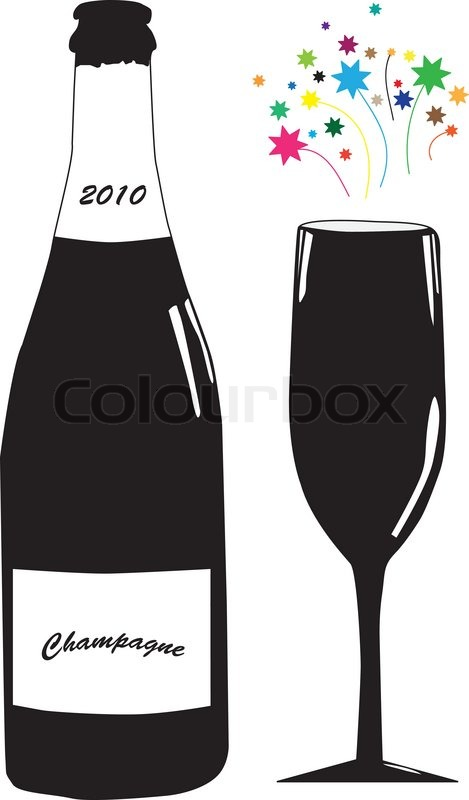 vector illustration of bottle of champagne and glass at new years day stock vector colourbox
