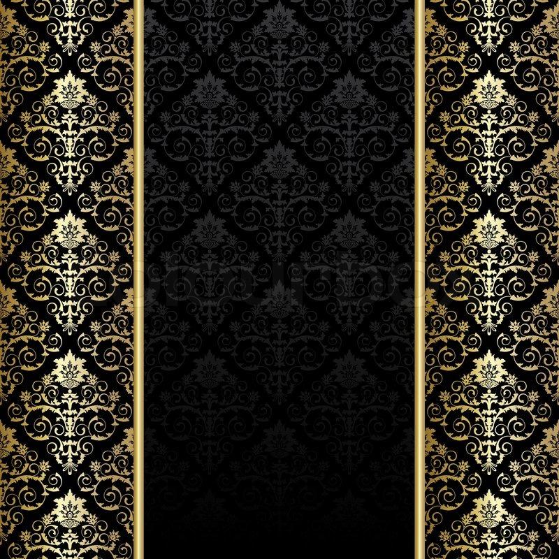 schwarzer hintergrund mit gold blumen vektorgrafik colourbox. Black Bedroom Furniture Sets. Home Design Ideas