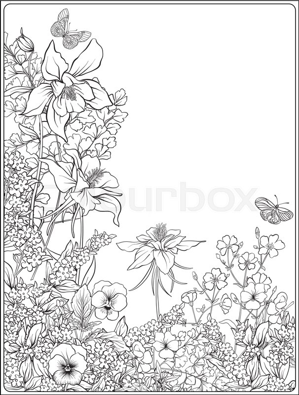 Composition with spring flowers: tulips, daffodils, violets, forget-me-nots in botanical style. Stock line vector illustration. Outline hand drawing coloring page for adult coloring book. , vector