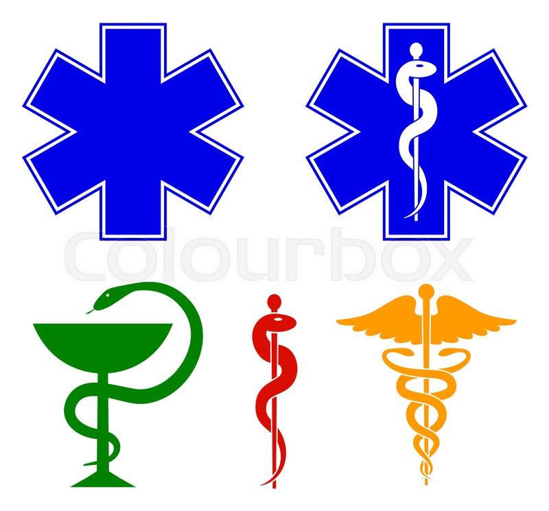 Medical International Symbols Set Star Of Life Staff Of Asclepius