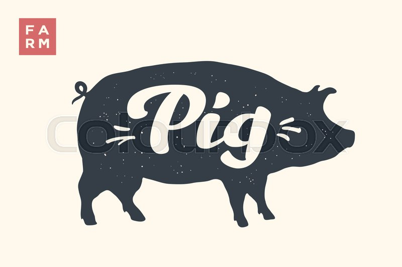 Isolated Pig Silhouette And Words Farm Creative Graphic Design With Lettering For Butcher Shop Farmer Market Poster Animals Theme