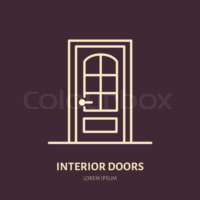 Attrayant Doors Installation Logo, Repair Flat Line Icon. Interior Design Thin Linear  Sign For House Decor Shop, Handyman Service. | Stock Vector | Colourbox