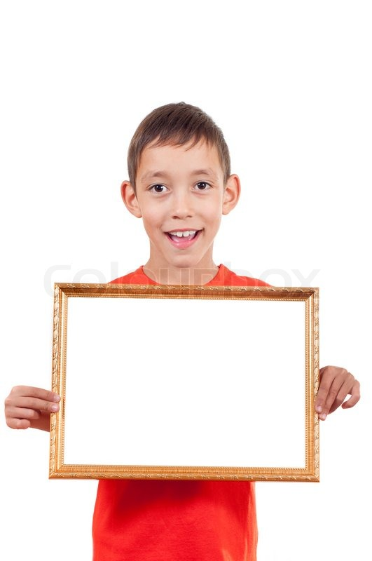 Holding empty wooden frame with white copy space isolated on white