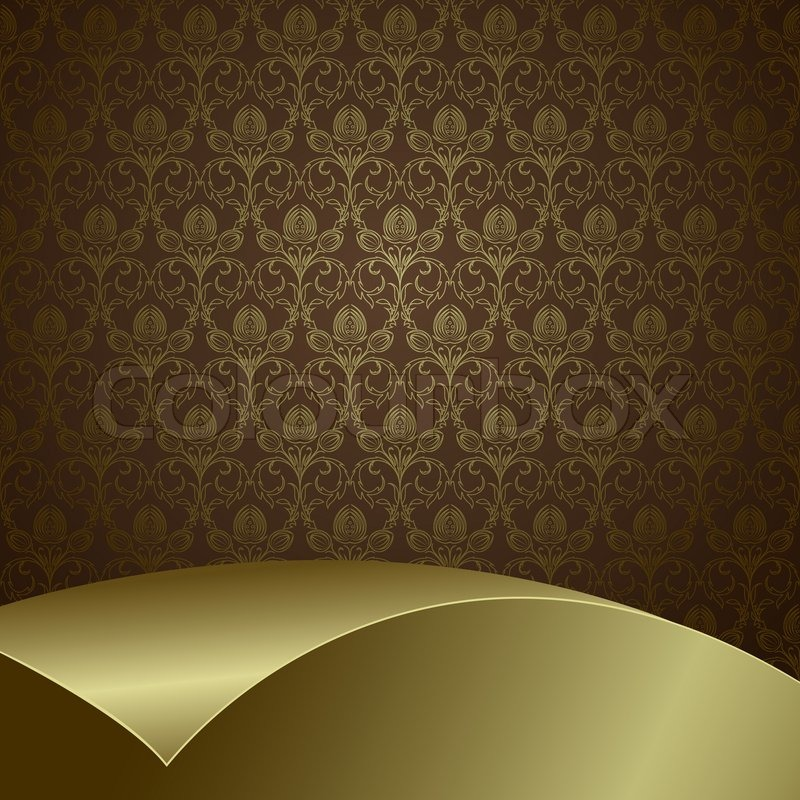 Brown Background With Flowers And Leaves And Gold Sheet
