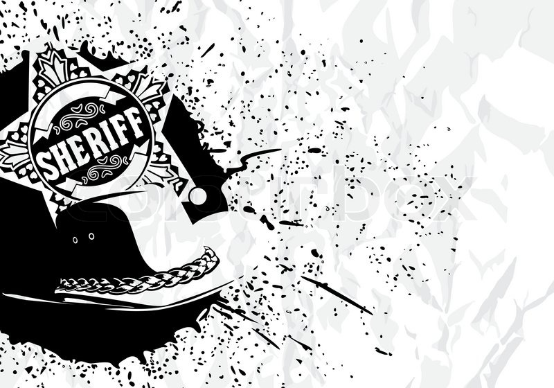 vector cowboy background  sheriff star with hat on white