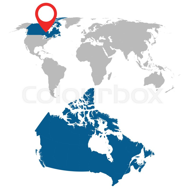 Map Of Canada On Globe.Detailed Map Of Canada And World Map Stock Vector Colourbox