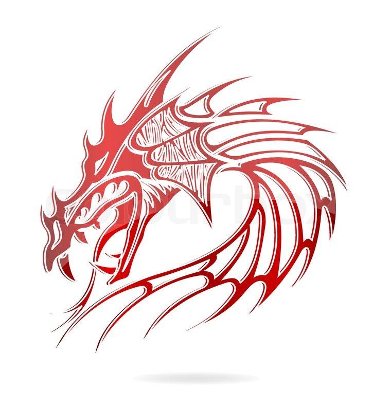 Asia Drachen Und Flammen Zeichen Rot Isoliert Stock Vektor
