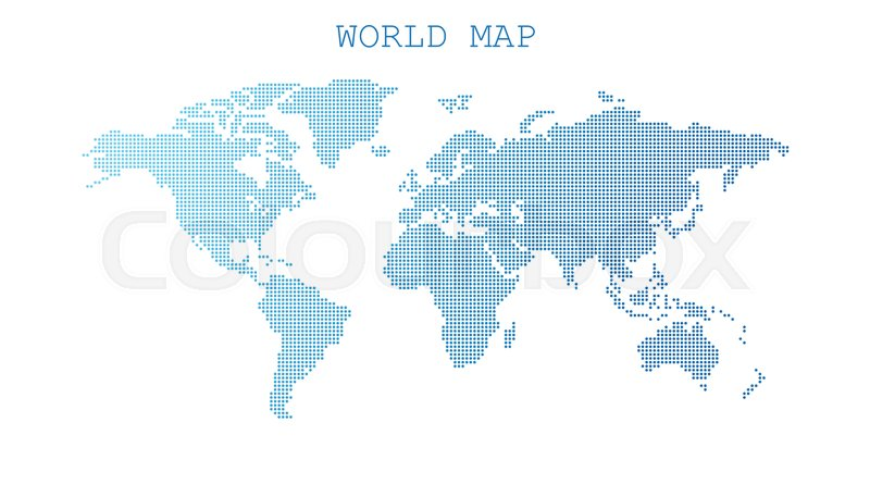 Dotted blank blue world map isolated on white background world map dotted blank blue world map isolated on white background world map vector template for website infographics design flat earth world map with round dots gumiabroncs Images