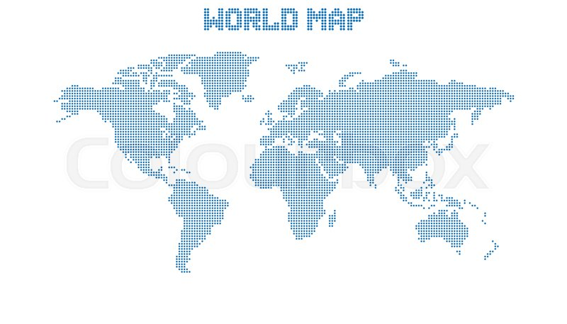 dotted blank blue world map isolated on white background world map vector template for website infographics design flat earth world map with round dots