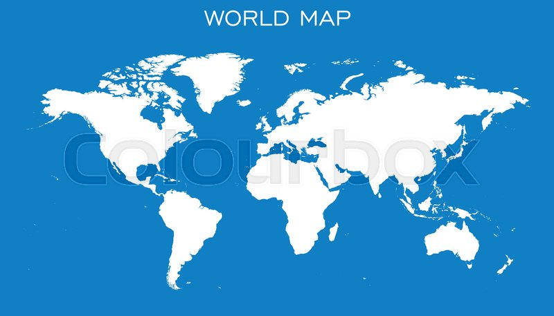 Blank white world map isolated on blue background world map vector blank white world map isolated on blue background world map vector template for website infographics design flat earth world map illustration vector gumiabroncs Gallery