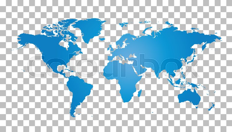 Blank Blue World Map On Isolated Background World Map Vector - Earth blank map
