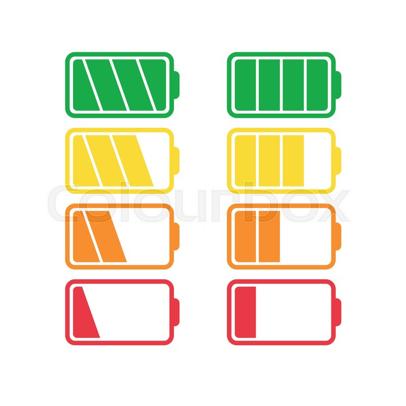 Battery Icon Vector Set Isolated On White Background